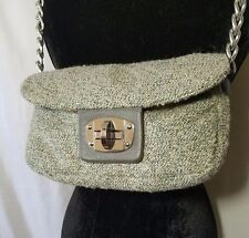 Shiraleah Gray & Teal Tweed Chanel Boucle Turn Lock Shoulder Bag Purse Vegan