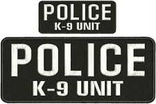 police k9 unit embroidery patches 4x10 and 2x5 hook on back  letters white