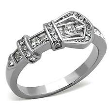 Silver Stainless Steel Belt Buckle CZ Dress Ring Size 5 / J