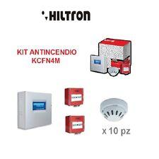 KIT ANTINCENDIO HILTRON CONVENZIONALE  CENTRALE 4 ZONE RILEVATORE OTTICO FUMO