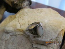 Vintage Marked Sterling Silver 925 Mop Marcasite Gemstone Ring 6.5 gr.Tested