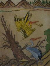 Fine Korean MinHwa Folk Hand Painting 2 Cranes Playing