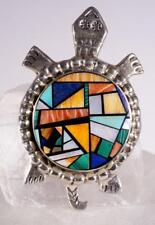 Navajo LM Signed Sterling Silver Multi-Stone Inlay Turtle Pendant