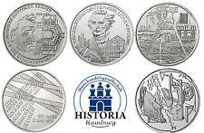 Germania 5 x 10 Euro Monete Commemorative 2003 BFR serie completa di tutti i 5 monete argento