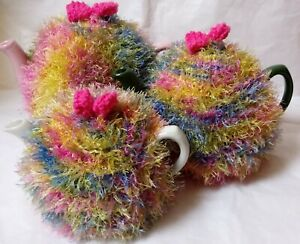 Funky fluffy tea cosy MULTI pink blue green hand knitted in Wales see size guide