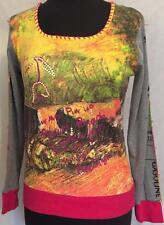 CUSTO Barcelona Long Sleeve T Shirt Top 100% Cotton Sequins Graphic 2 M Colorful
