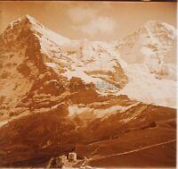 Montagne Francia Suisse Foto Stereo PL59L1n42 Placca Da Lente Vintage c1910