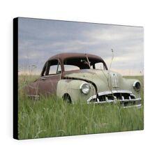 Canvas Print Car Frame Wall Pontiac Abandoned Vintage Rusty Farm Field Old