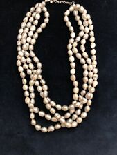 Natural Freshwater Gray Pearl 4 Strand Necklace