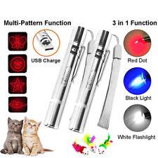 3 en 1 Luz Led De Juguete Gato Mascota Jugar lápiz puntero láser rojo USB Recargable De Regalo