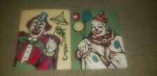 """Vintage 1953 PBN Paint by Numbers Completed Pair Clowns 8"""" x 10"""""""