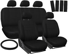 SUV Van Truck Seat Cover Black 17pc Full Set w/Steering Wheel/Belt Pad/Head Rest