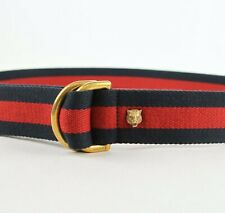 Gucci BRB Web Canvas Slip Belt with Gold Tiger's Head 90/36 453271 8480