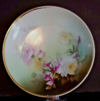 """Antique Sevres Bavaria Signed Collector Plate 8.25"""" Green Multi Color Roses"""