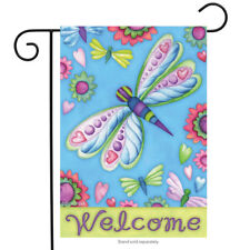 Briarwood Lane Sleeved Garden Flag 12.5x18 Dragonflies And Flowers Welcome New