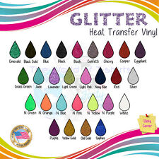 "Glitter Heat Transfer Iron on Vinyl For Tshirts 12""x10"" 6 Sheets colors pack :)"