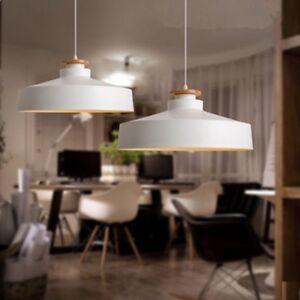 White Ceiling Lamp Modern Pendant Light Kitchen Wood Lighting Bedroom LED Lights