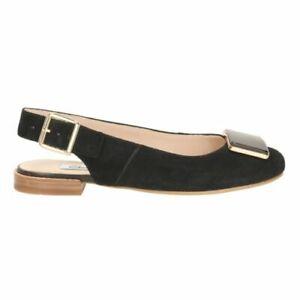 CLARKS **Festival Fizz Black Suede** Women's Smart Shoes slingback UK4.5 RRP £80