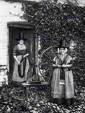 Welsh Spinners e Filatura RUOTA Galles VECCHIO BW foto STAMPA POSTER 2158bwb