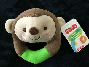 NWT Fisher Price SnugaMonkey green brown plush monkey ring rattle baby toy