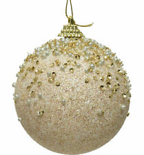 12 x Pearl | Ivory & Gold Christmas Tree Baubles Decorations Sparkle Finish 8cm