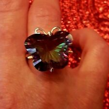 Butterfly Natural Mystic Fire Rainbow Topaz Cocktail Ring. Size 6,7,8