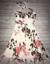 Women's Juniors SPEECHLESS Brown Cream Coral Floral Halter Dress size 9