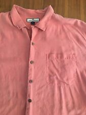 Men's Tommy Bahama salmon Pink Red short sleeve button front shirt 100% silk XL
