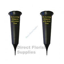 2 X Nan In Loving Memory British Made Black Grave Flower Vase Funeral Spike