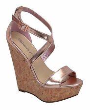 Women Open Toe Criss Cross Mary Jane Ankle Strap Wedge Platform Heel Pump Sandal