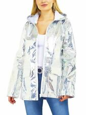 Womens Waterproof Holographic Raincoat Jacket Pink Silver Glitter Size 8 to 16