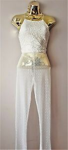 Brand New Boohoo Ivory of White Lace Crop Top Stretchy Bra Sexy bralette Size 12