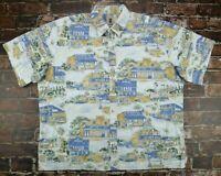 Tori Richard Honolulu Hawaiian Button Front Shirt Mens Size 3XL XXXL City Scene