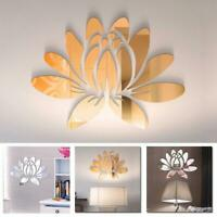 3D Lotus Flower Mirror Wall Sticker Art Decal Mural Removable Room Decor