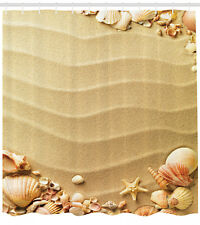 Beach Shower Curtain Sand with Sea Shells Print for Bathroom 70 Inches Long