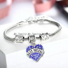 Crystal Heart Bangle Bracelet BFF Gift Friendship Best Friend Women Men Jewelry
