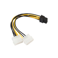 JP_ 18cm 8 Pin(6+2) PCIE to Dual Molex Connector Graphics Card Cable Cord Stri