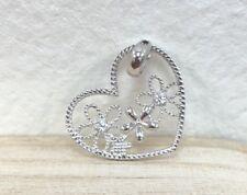 14k White Gold Diamond Cut Flower Heart Shape Charm Pendant / Dije de corazon