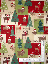 Christmas Forest Animals Moose Deer Patch Cotton Fabric Holiday 2.5 Yards