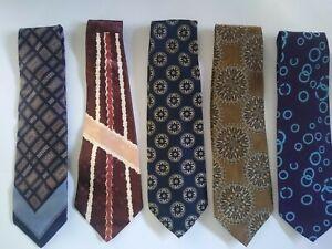 Vintage Lot of 5 Ties WEMBLEY ARTWAY Neckties Prints Blue Brown Wine Retro 70's