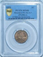 1858/7 PCGS MS60 FS-302 Overdate Flying Eagle Cent