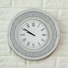 Large Mirrored Wall Clock Bevelled Mirror Glass Crystal Jewels Roman Numerals UK