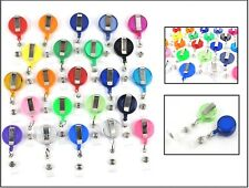 NEW Lot 50 ID Badge Holder Reel Retractable Key Clip Wholesale Price 27 Colors