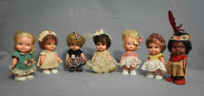"""Vintage Usa 4"""" Eegee Itsy Bitsy Dolls Lot Original Outfits Hand Painted Faces"""