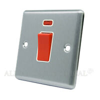 Satin Matt Chrome Classical 45A Cooker Switch - 45 Amp DP Switch Outlet w/ Neon