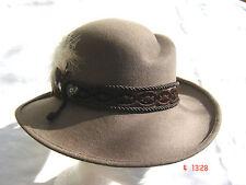 Damenhut klassischer Trachtenhut Wollfilz wetterfest Farbe hellbraun mit Feder
