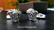 Versace cufflinks Men silver jewelry Medusa head Brass metal Made in Italy cuff