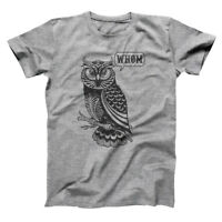 Whom Owl Grammar English Teacher Editor Funny Gift Gray Basic Men's T-Shirt