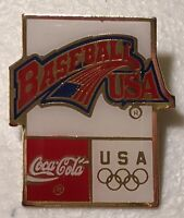 Coca Cola Sponsor Team USA Baseball Olympics Lapel Hat Pin Pinback~Olympic Games
