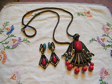 Stunning Necklace Clip Earrings Bronze Tone NA Eagle WOW